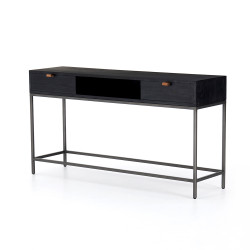 Four Hands Trey Console Table - Black Wash Poplar
