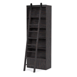 Four Hands Bane Bookshelf W/ Ladder - Dark Charcoal