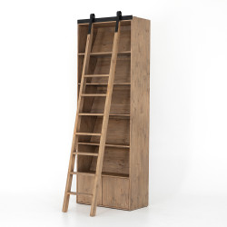 Four Hands Bane Bookshelf W/ Ladder - Smoked Pine