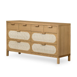 Four Hands Allegra 8 Drawer Dresser - Natural Cane