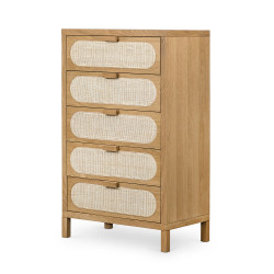 Four Hands Allegra 5 Drawer Dresser - Natural Cane