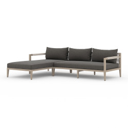 Four Hands Sherwood Outdoor 2 - Piece Sectional, Washed Brown - Left Arm Facing - Charcoal
