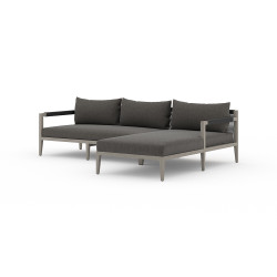 Four Hands Sherwood Outdoor 2 - Piece Sectional, Weathered Grey - Right Arm Facing - Charcoal