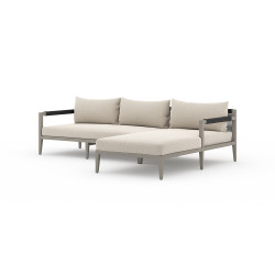 Four Hands Sherwood Outdoor 2 - Piece Sectional, Weathered Grey - Right Arm Facing - Faye Sand