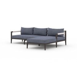 Four Hands Sherwood Outdoor 2 - Piece Sectional, Bronze - Right Arm Facing - Faye Navy