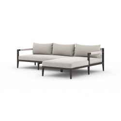 Four Hands Sherwood Outdoor 2 - Piece Sectional, Bronze - Right Arm Facing - Stone Grey