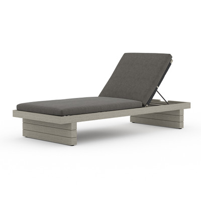 Four Hands Leroy Outdoor Chaise - Weathered Grey - Charcoal