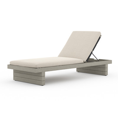 Four Hands Leroy Outdoor Chaise - Weathered Grey - Faye Sand