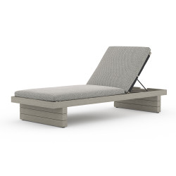 Four Hands Leroy Outdoor Chaise - Weathered Grey - Faye Ash
