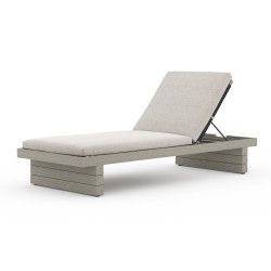 Four Hands Leroy Outdoor Chaise - Weathered Grey - Stone Grey