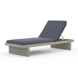 Four Hands Leroy Outdoor Chaise - Weathered Grey - Faye Navy
