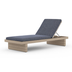Four Hands Leroy Outdoor Chaise - Washed Brown - Faye Navy