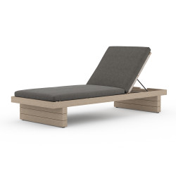 Four Hands Leroy Outdoor Chaise - Washed Brown - Charcoal