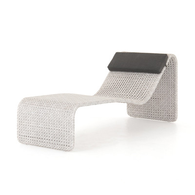 Four Hands Paige Outdoor Woven Chaise - Brushed Grey
