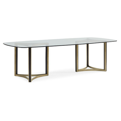 Caracole Remix Double Pedestal Glass Top Table