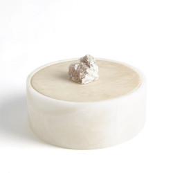 Alabaster Round Box w/Rock Finial