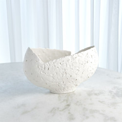 Asymmetrical Stipple Bowl - Matte White