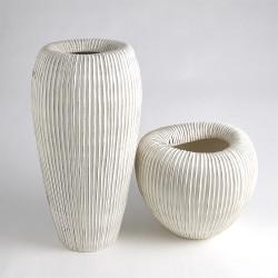Baleen Vase - Ivory w/Brown Edges