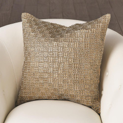 Beaded Basketweave Pillow - Antique Gold