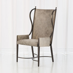 Iron Wing Chair w/Grey Hair - on - Hide