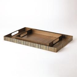 Kokoro Etched Rectangular Tray - Brass - Lg