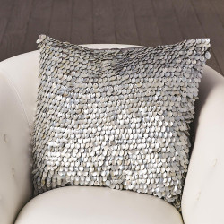 Mother of Pearl Beaded Pillow - Grey