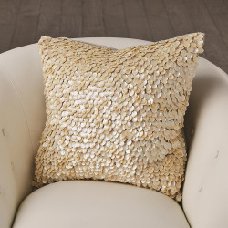 Mother of Pearl Beaded Pillow - Ivory