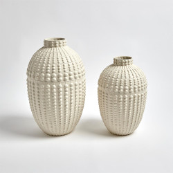 Nail Head Vase - Rustic White - Sm