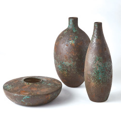 Patina Wide Vase - Aged Brown