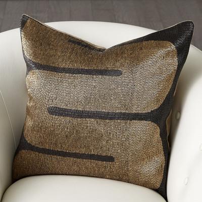 River Beaded Pillow - Black/Gold