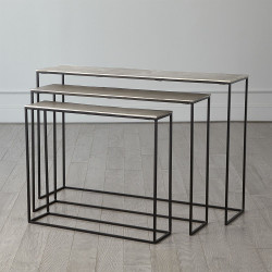 S/3 Sand Casted Nesting Consoles - Black Frame w/Nickel Top