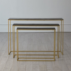 S/3 Sand Casted Nesting Consoles - Gold frame w/Black Top