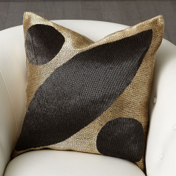Seed Beaded Pillow - Gold/Black