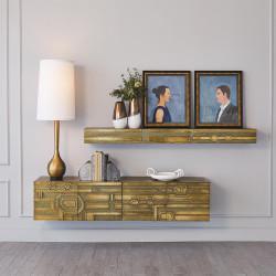 Abstract Block Floating Shelf - Brass