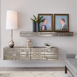 Abstract Block Floating Shelf - Nickel