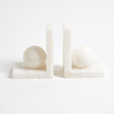 Alabaster Ball Bookends - Pair
