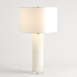 Alabaster Cylinder Table Lamp - Brass