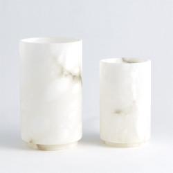 Alabaster Cylinder Vase - White - Sm