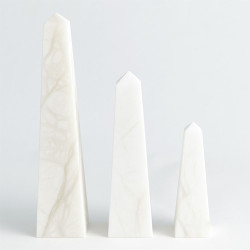 Alabaster Obelisque - White - Lg