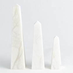 Alabaster Obelisque - White - Sm