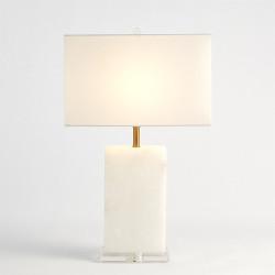 Alabaster Rectangular Table Lamp - Brass