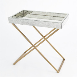 Antique Mirror in Brass Folding Tray Table