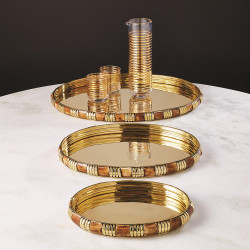 Banded Bone and Brass Tray - Med