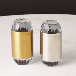 Banded Crystal Candle - Nickel