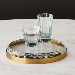 Banded Crystal Tray - Brass
