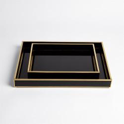 Bevelled Black Glass Tray - Lg