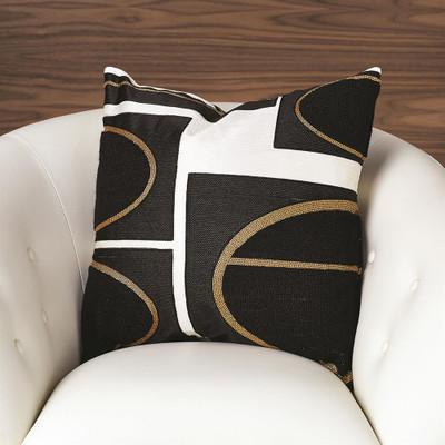 Brass Loop Pillow - Beige/Black