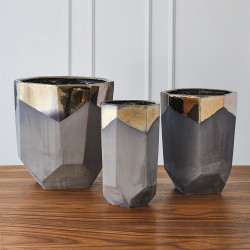 Faceted Banded Bronze Container - Lg