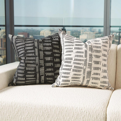Frequency Pillow - Black/Beige