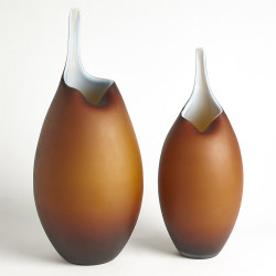 Frosted Amber Vase W/Blue Casing - Lg